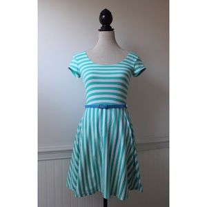 Derek Heart Turquoise Striped Fit and Flare Dress